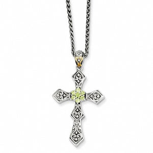Sterling Silver & 14k Yellow Gold Peridot Necklace