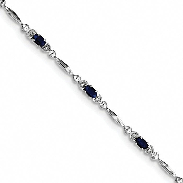 Sterling Silver Sapphire and Diamond Bracelet
