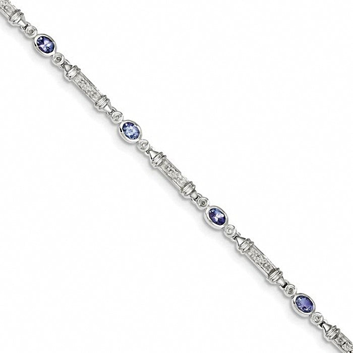 Elegant Sterling Silver Tanzanite and Diamond Bracelet