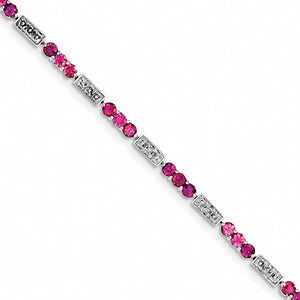 Sterling Silver Pink Tourmaline and Diamond Bracelet