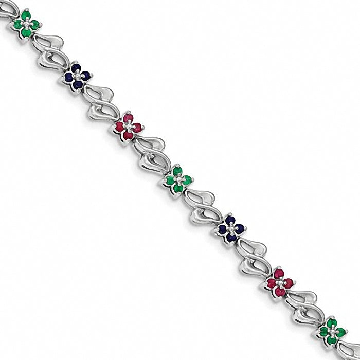 Sterling Silver Rhodium-plated and Sapphire, Ruby , Emerald Bracelet