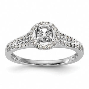 Beautiful Halo 14k White Gold Diamond Semi-Mount Engagement Ring