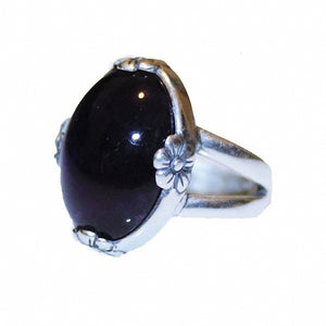 Natural Amethyst  Ring with Flower Accents oval cabochon and Sterling Silver Ring