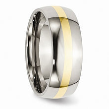 Load image into Gallery viewer, Stainless Steel and 14k Yellow Inlay 8mm Polished Band