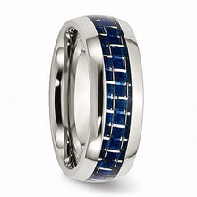 Load image into Gallery viewer, Stainless Steel Blue Carbon Fiber Inlay Polished Band