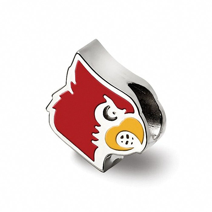 Sterling Silver LogoArt University of Louisville Cardinal Enameled Logo Bead