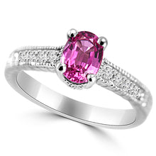 1.08ct. Pink Sapphire and Diamond Engagement Ring