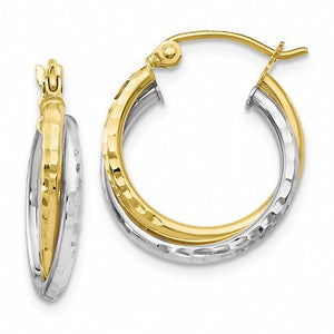 Leslies 10K Two-tone Diamond-cut Hinged Hoop Earrings