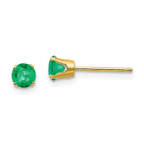 14k Yellow Gold 4mm Emerald Post Earrings