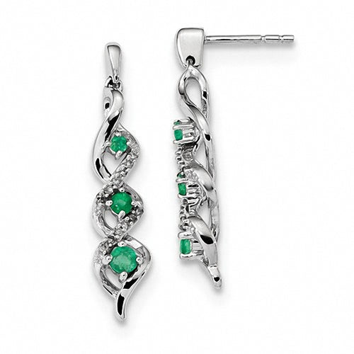 Emerald and Diamond 14k White Gold Post Dangle Earrings