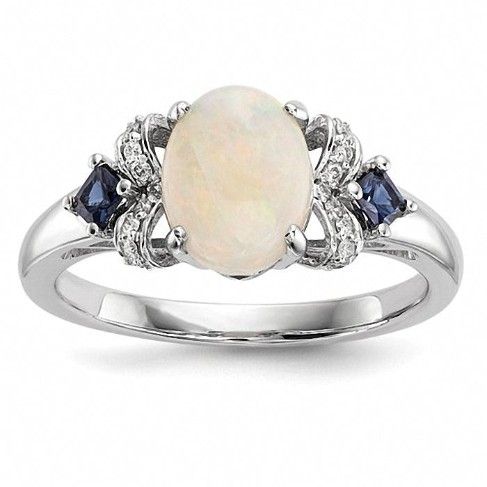 14k White Gold w/ Austrian Opal & Blue Sapphire & Diamond Ring