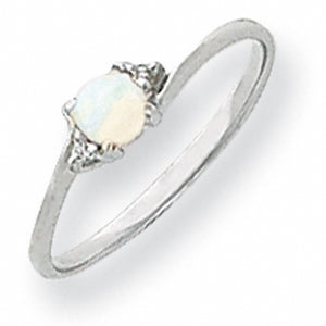Cute 14k White Gold A Diamond and Opal Ring