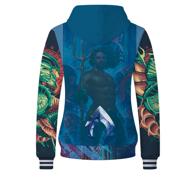 Film Aquaman cool 3d color full printing hoodie