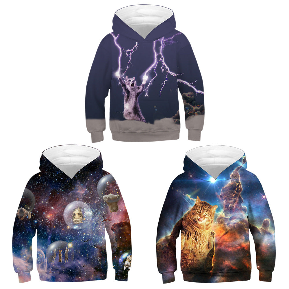galaxy cat 3D printing hoodie for boys and girls