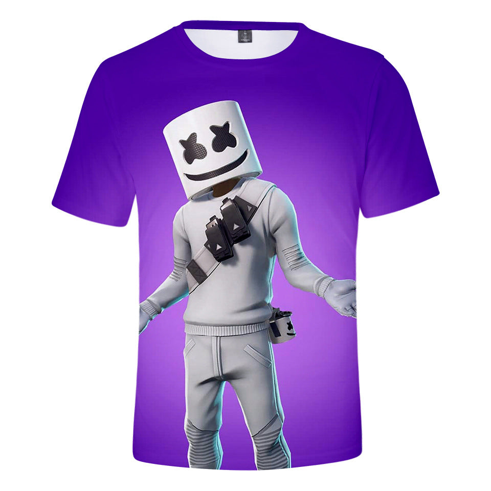 Marshmello 3D printing Short-sleeved fashion t-shirt