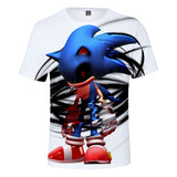 Funny Sonic The Hedgehog 3D printing white t-shirt for good boy