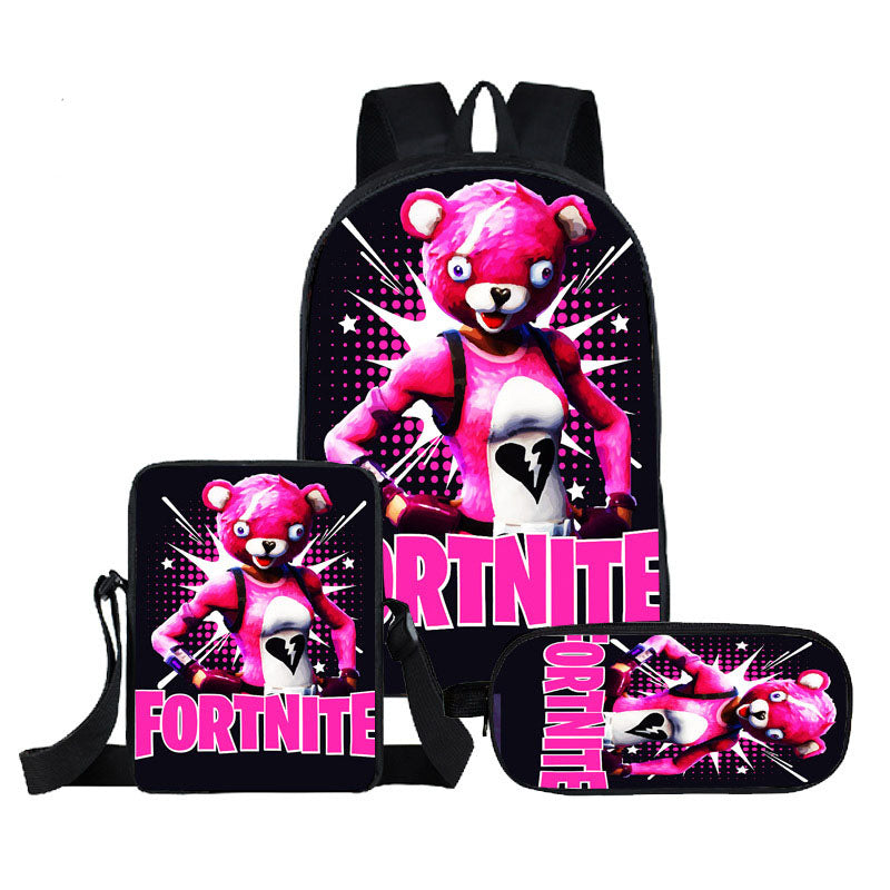 Fortnite pink book bag  Cuddle Team Leader print girls backpack wiht  lunch box and pencil