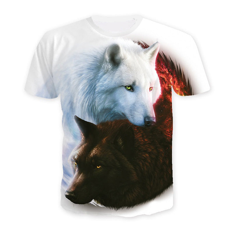Wolf 3D print t-shirt Men Short Sleeve
