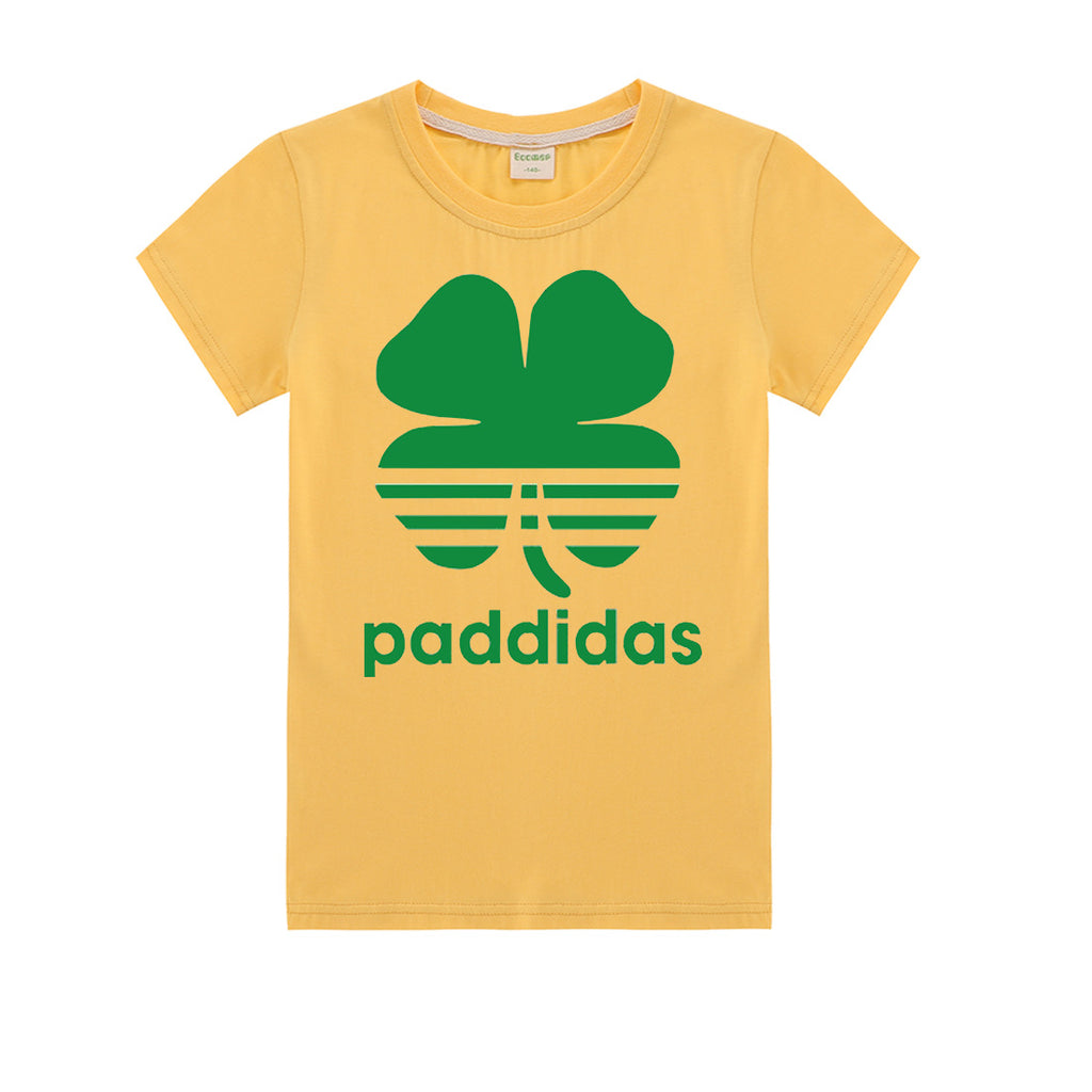 St Patricks Day DJ Music Short sleeve Cotton T-shirt  for Boys and Girls
