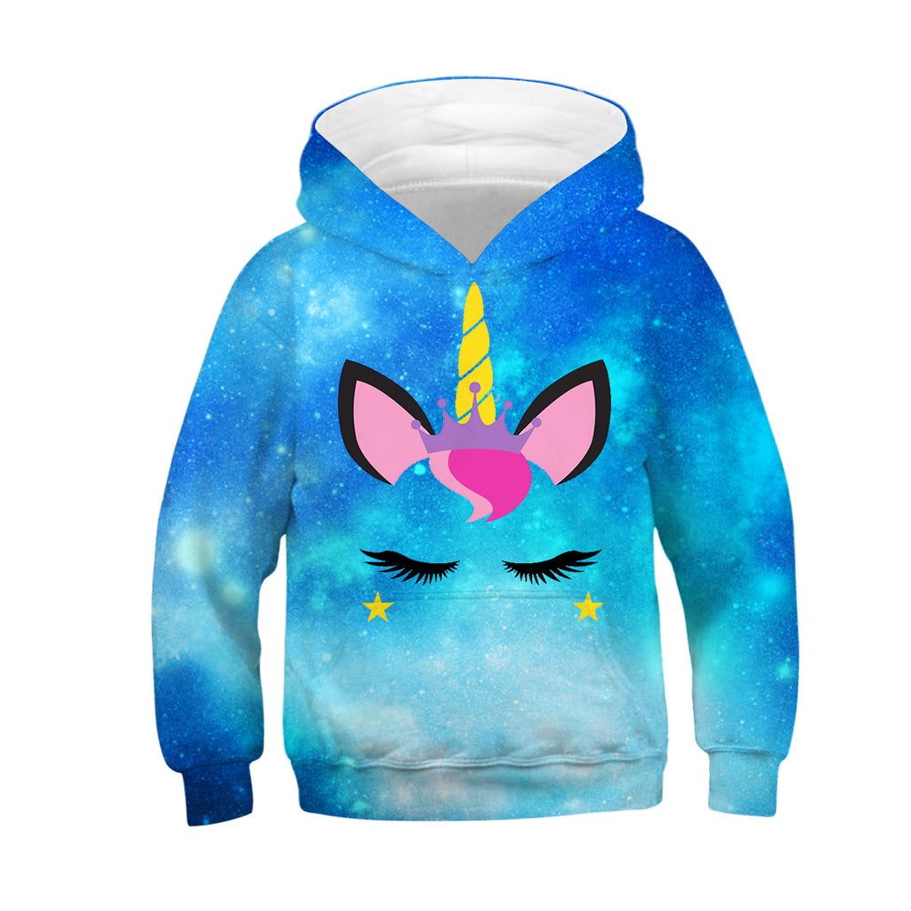 Kids hoodie unicorn Galaxy print hooded sweatshirt