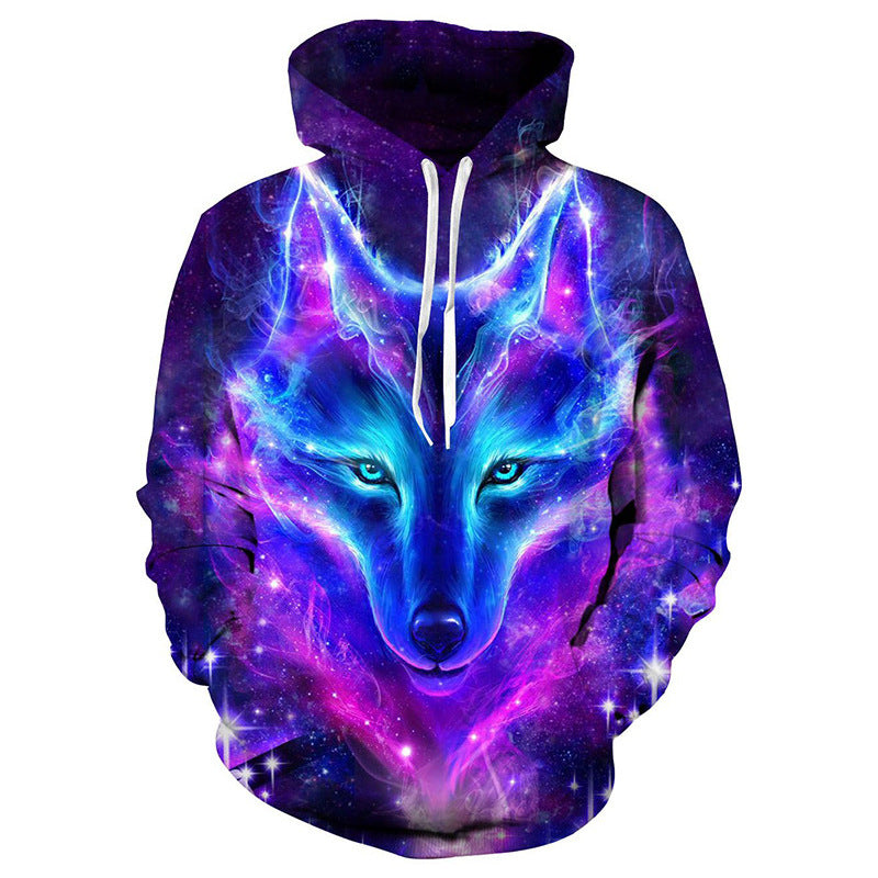 Fashion galaxy blue wolf 3d printing hoodie