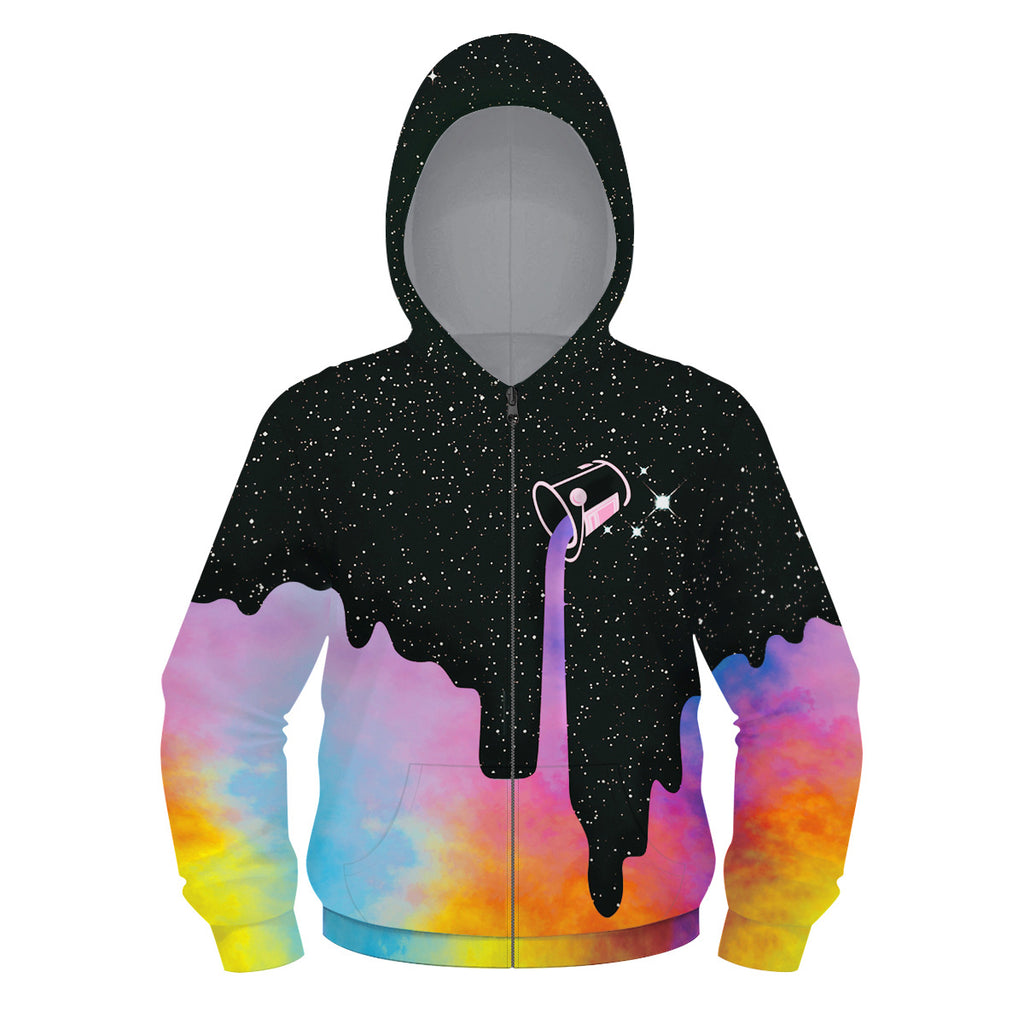 Kids Milk Bucket Galaxy 3D Zip Up Hoodie Unisex Jacket
