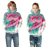 Kids Hoodie Childhood Girl and  Trex Dinosaur  Color Printing Sweatshirt