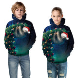 Kids Sloth  Galaxy Christmas Hoodie Unisex Sweatshirt