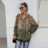Leopard Stitching Clothes Fleece  Hoodie