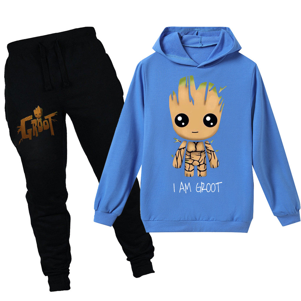 Kids I am Groot hooded shirt and pants 2pcs