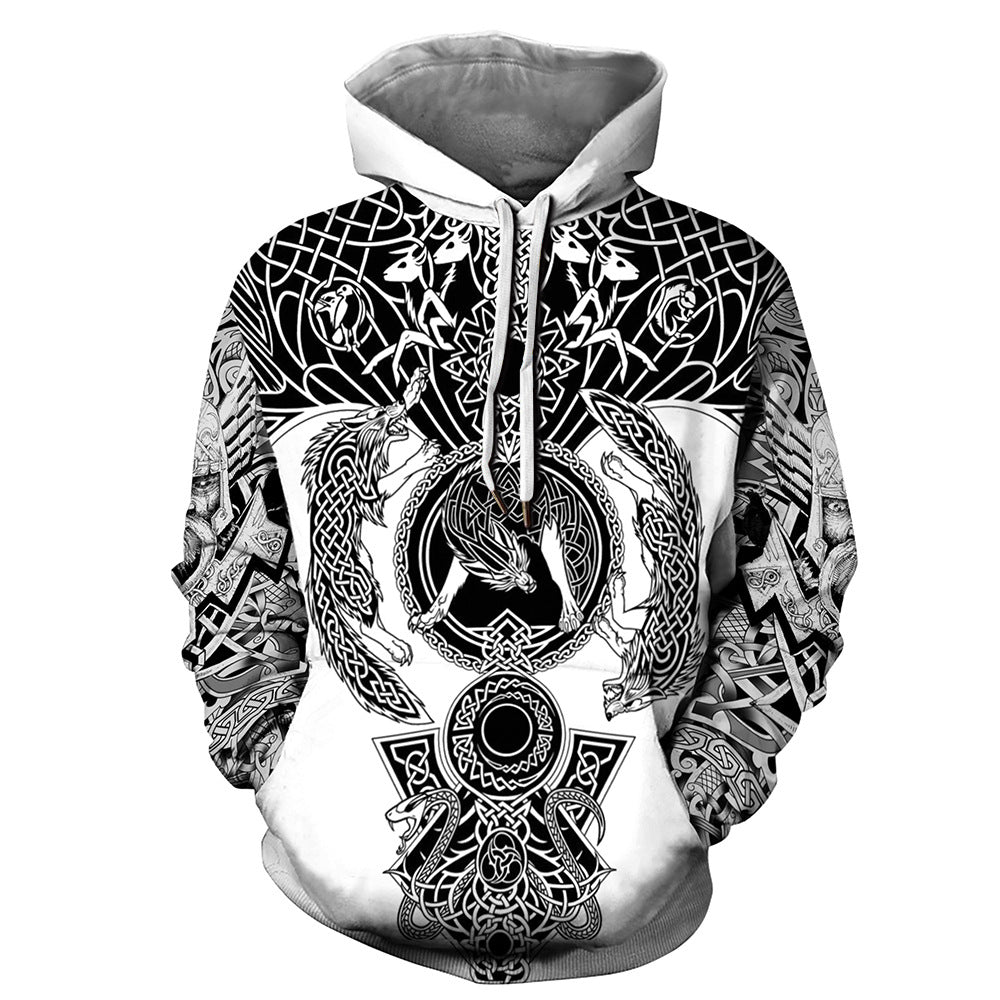Viking warrior tattoo full printing hoodie