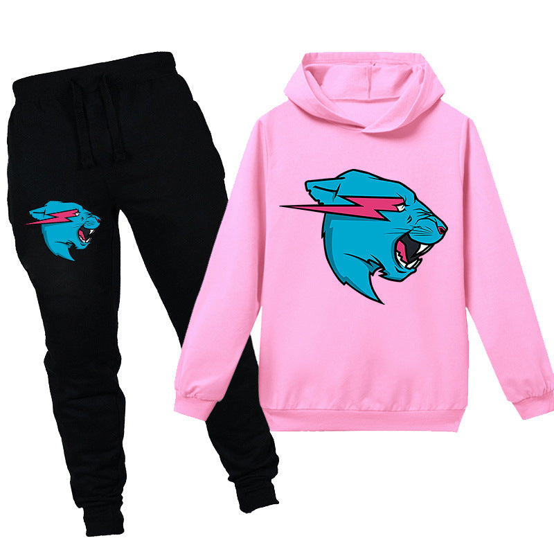 Kids Mr Beast Lightning Cat  Casual Hoodie Tracksuit Sportwear