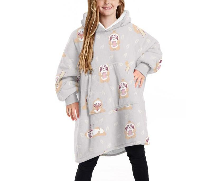 Kids Cartoon raccoon Blanket Hoodie