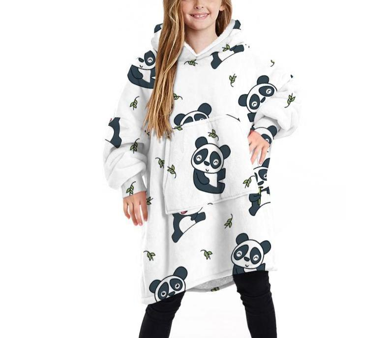 Kids Cartoon Panda Blanket Hoodie