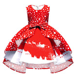 Girls Red Polka Christmas Princess Dress