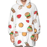 Adult Strawberry printing Blanket Hoodie