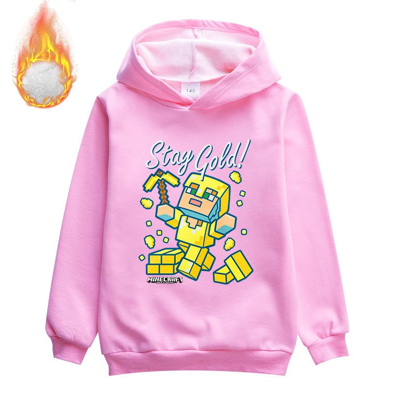 Kids Minecraft stay gold  Fleece Pullover Hoodie