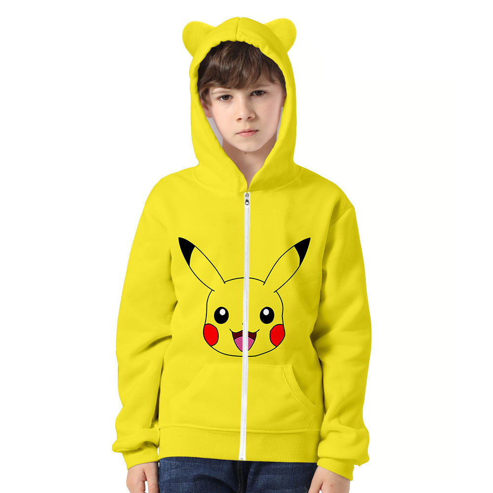 Kids  Pokemon Go Pikachu 3D Ear Hoodie Unisex Jacket