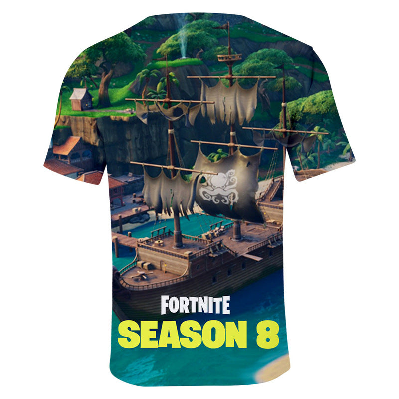 3D Print Fortnite Lazy Lagoon Short Sleeve T-shirt Fortnite Tees