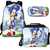 Kids Sonic The Hedgehog Backpack with Lunch Box and Pencil Case 3PCS