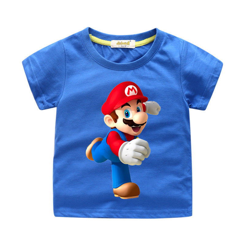 Boys Cartoon Mario Print T-shirts Clothes Girls Casual Tees Top Costume