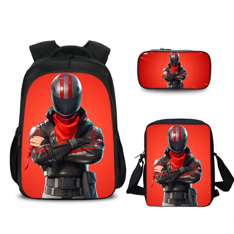 3PCS Set Fortnite Burnout Backpack and Pencil Case with  Lunch Bag