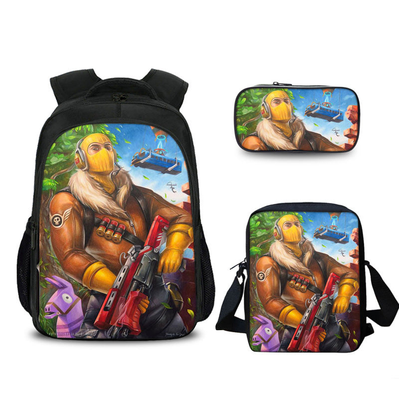 Raptor Comic Fortnite Backpack with Lunch Bag and Pencil Case