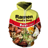 Unisex Couple Hoodie Noodle Soup 3D Print Graphic Pullover Hooded Sweatshirt