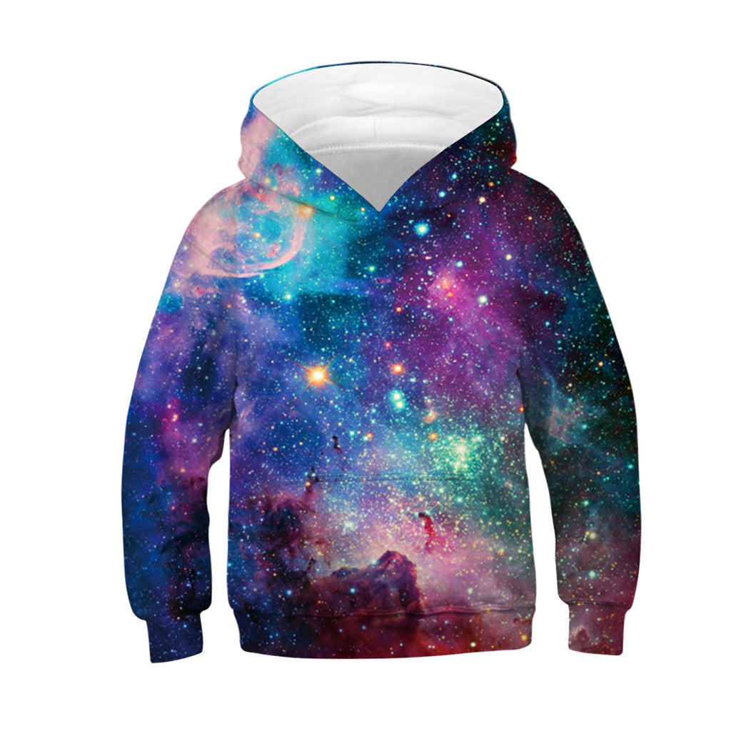 Unisex galaxy 3D Digital Print Pullover Hoodie Hooded Sweatshirt for boys and girls