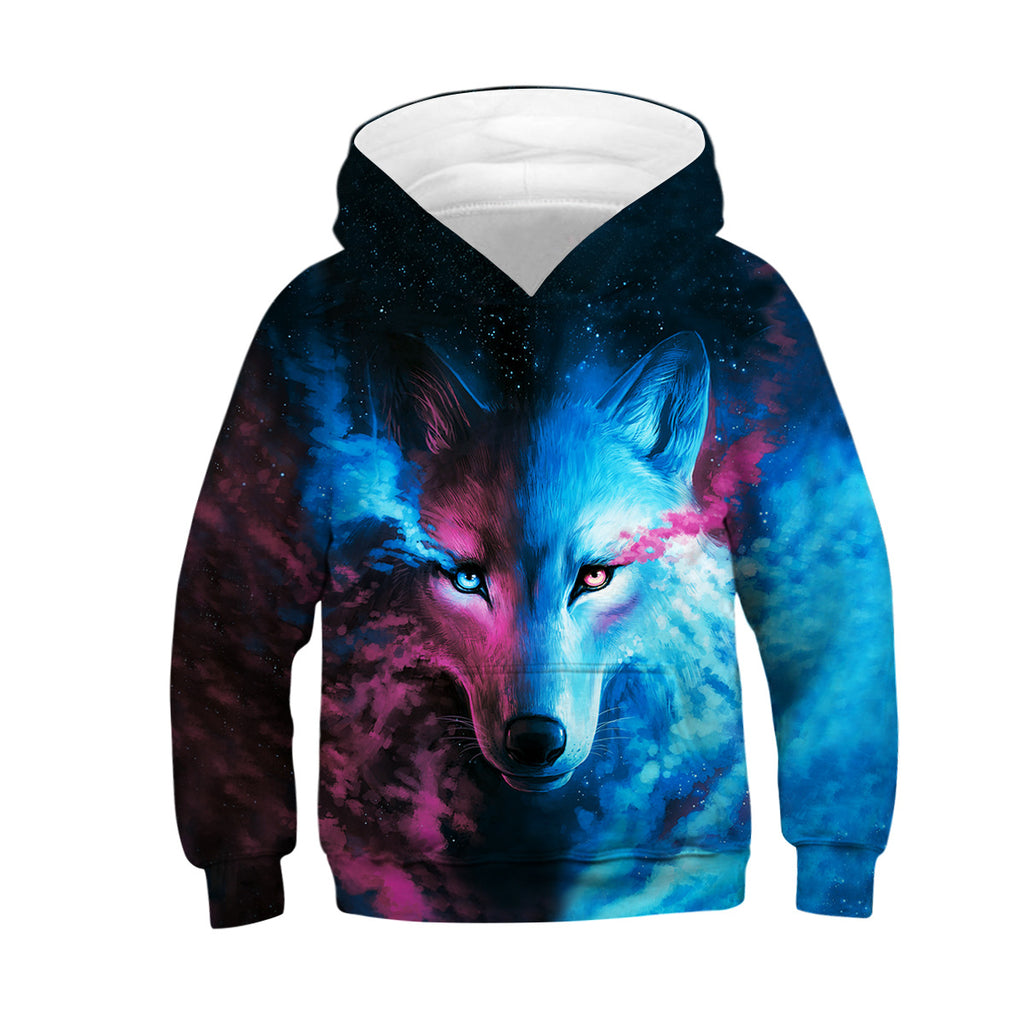 Kids Wolf Hoodie Boys Teens Girls 3D Galaxy Print Sweatshirt Pullover