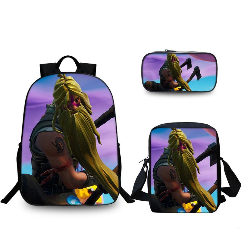 Bunker Jonesy Fortnite New School Backpack With lunch  Bag And Pencil Case