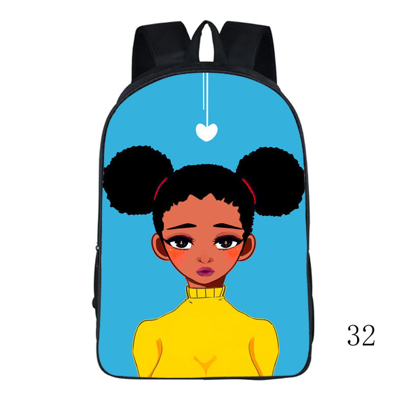 New African beautiful girl book bag teenager backpack