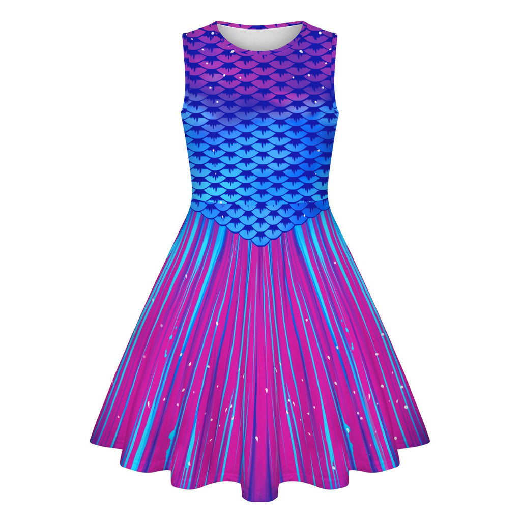 Girls 7T-12T Scales Slim Sleeveless Galaxy printed Dress Mermaid Costume