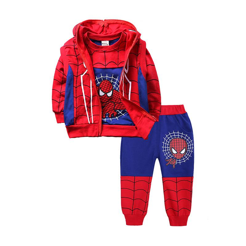 Kids Boys Spiderman Tracksuit Set  Jacket +shirt+pants 3pcs